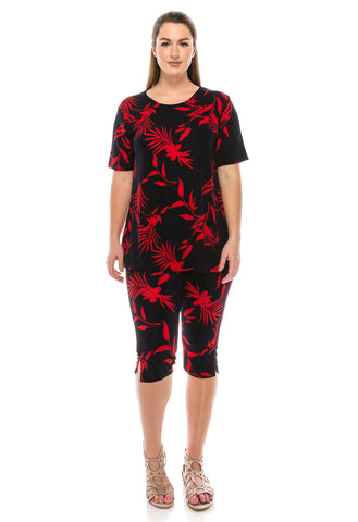 Jostar Stretchy Capri Pant Set Short Sleeve, Print - 903BN-SP-W102