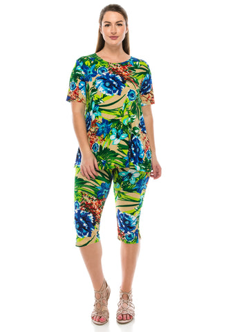 Jostar Stretchy Capri Pant Set Short Sleeve, Print - 903BN-SP-W121
