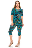 Jostar Stretchy Capri Pants Set Short Sleeve, Plus, Print - 903BN-SXP-W444