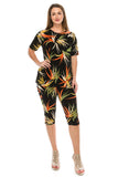 Jostar Stretchy Capri Pant Set Short Sleeve, Print - 903BN-SP-W679
