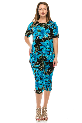 Jostar Stretchy Capri Pant Set Short Sleeve, Print - 903BN-SP-W683
