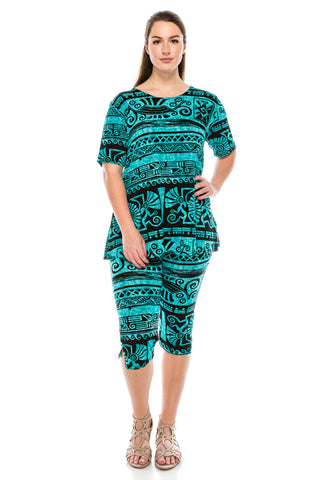 Jostar Stretchy Capri Pants Set Short Sleeve, Plus, Print - 903BN-SXP-W901
