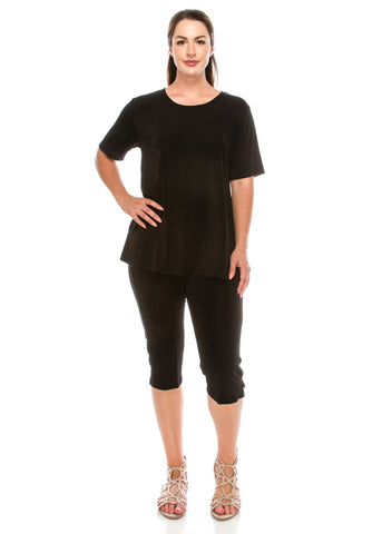 Jostar Stretchy Capri Pants Set Short Sleeve, Plus - 903BN-SX
