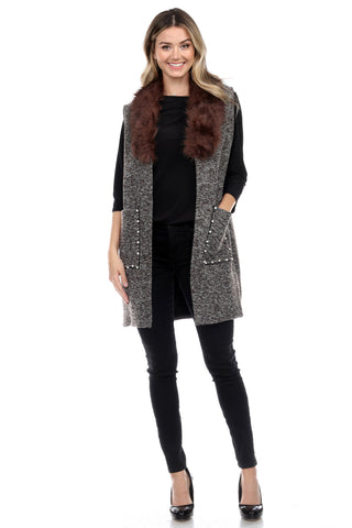 Fur Collar Vest with Bead Pocket CH-803
