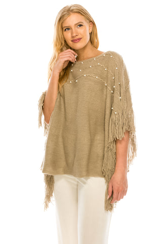 Knitted Poncho with Pearls-HN876