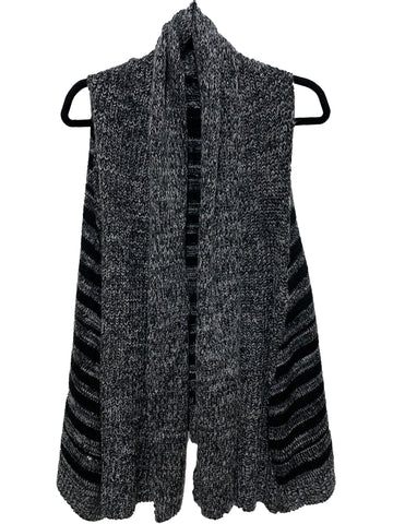 Sleeveless Vest Two Tone Draped Open Front Hem Cardigan
