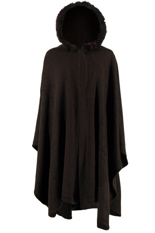 Cape with trim Design and Fur Hoodie-J004
