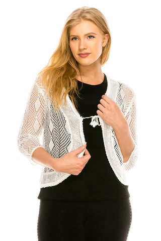 Quarter Sleeve Crochet Cardigan-J030