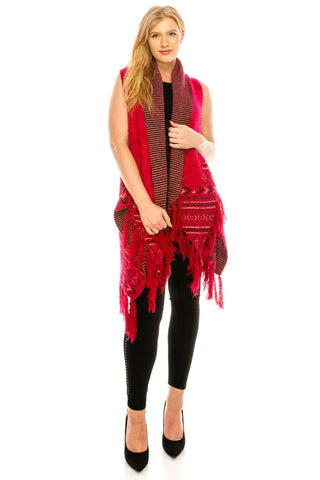 Sleeveless Poncho with Pattern-JN-KS-70163