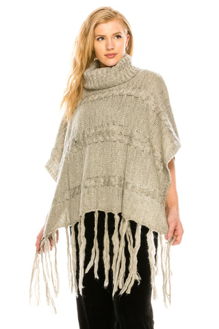 High Neck Poncho-M050