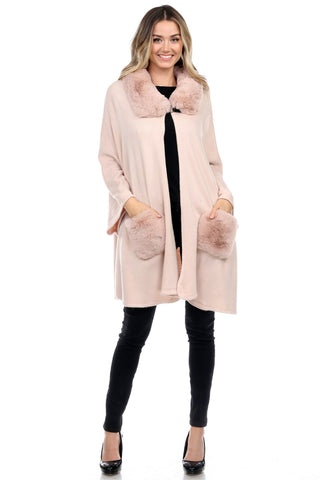 Poncho with Faux Fur Detail on Neckline and Pockets Winter Poncho