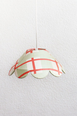 checked scallop lamp. handcrafted in Bangalore, India Olie lighting is beautiful, artisanal.