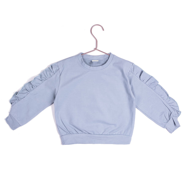 Frill Crew Sweater - Pale Blue