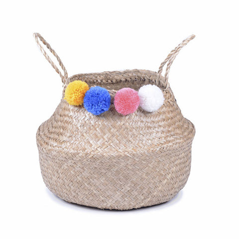 Pom Pom Belly Basket - Summer