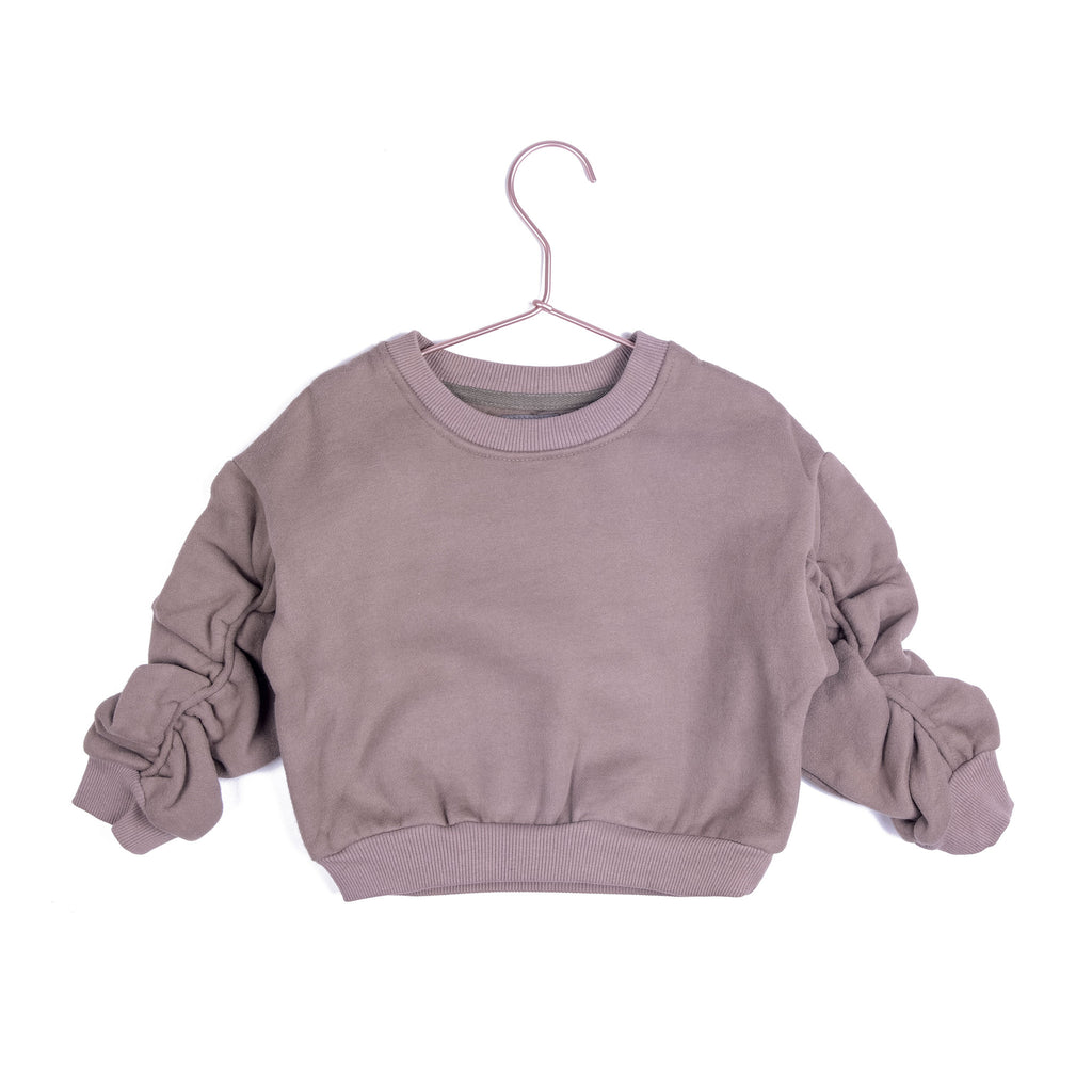 Ruched Crew Sweater - Clay