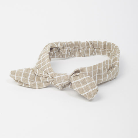 Bow Headband - Beige Check