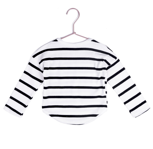 Long Sleeve Scoop Striped Tee