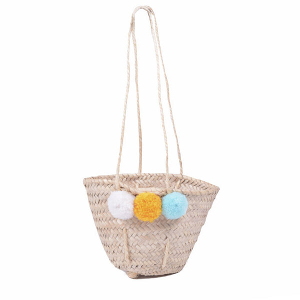 Mini Pom Pom Basket Shopper - Spring
