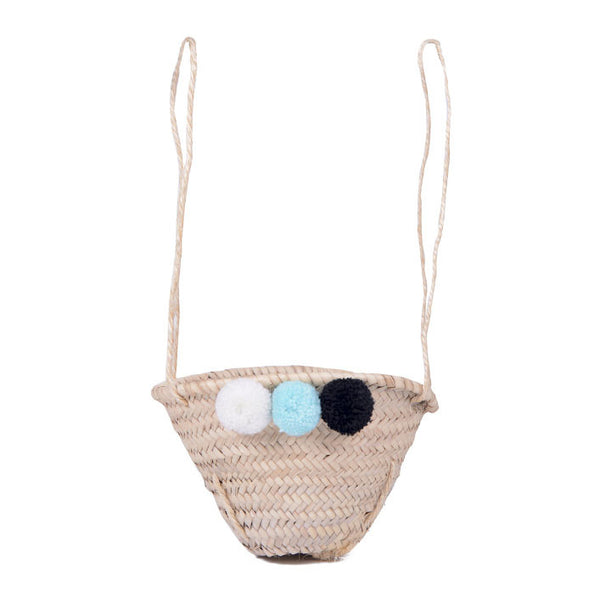Mini Pom Pom Basket Shopper - Trio