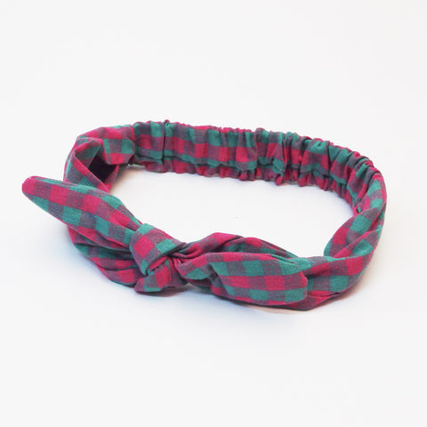 Bow Headband - Pink & Mint Check