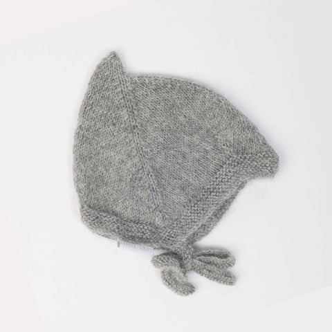 Hand Knit Alpaca Pixie Hat - Grey