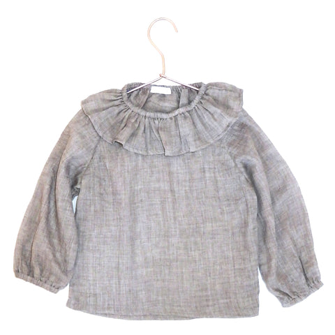 Frill Collar Blouse - Soft Grey