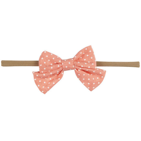 Mini Bow Headband - Coral Polka Dot