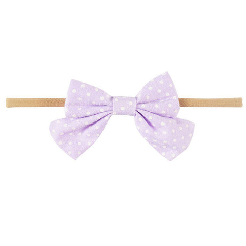 Mini Bow Headband - Lavender Polka Dot