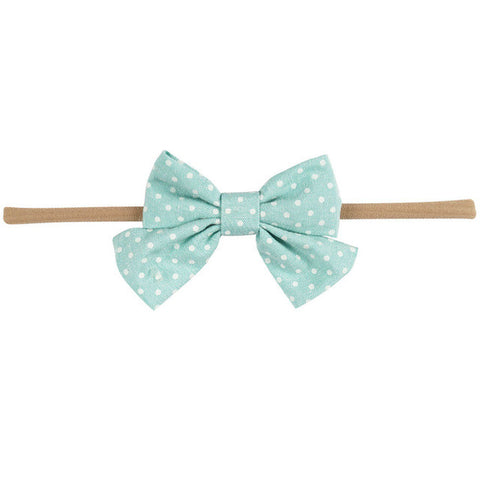 Mini Bow Headband - Mint Polka Dot