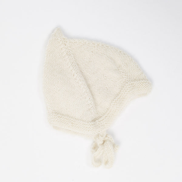 Hand Knit Alpaca Pixie Hat - Milk