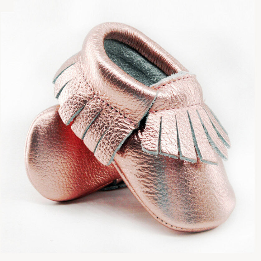 Mini Me Leather Moccasins - Rose Gold