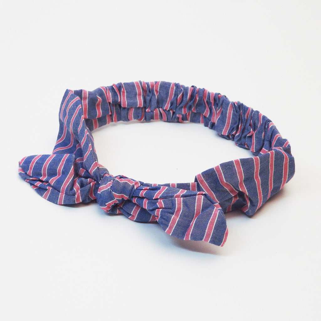 Bow Headband - Chambray & Red Stripe