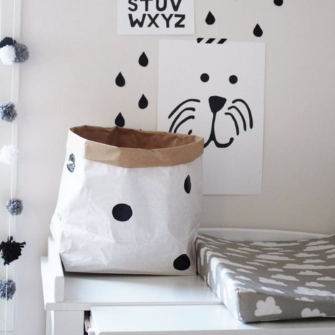 Black and White Spotty Reusable Paper Bag