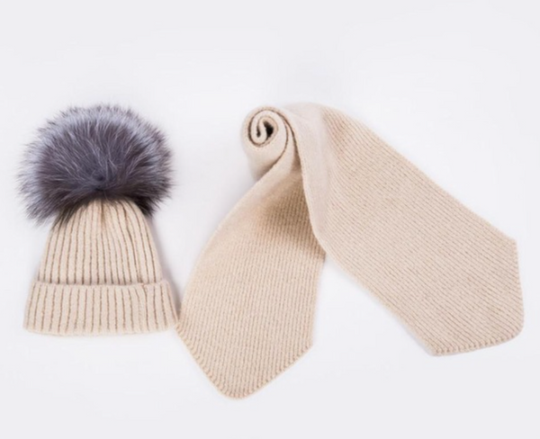 Knitted Hat & Scarf Set - Cream