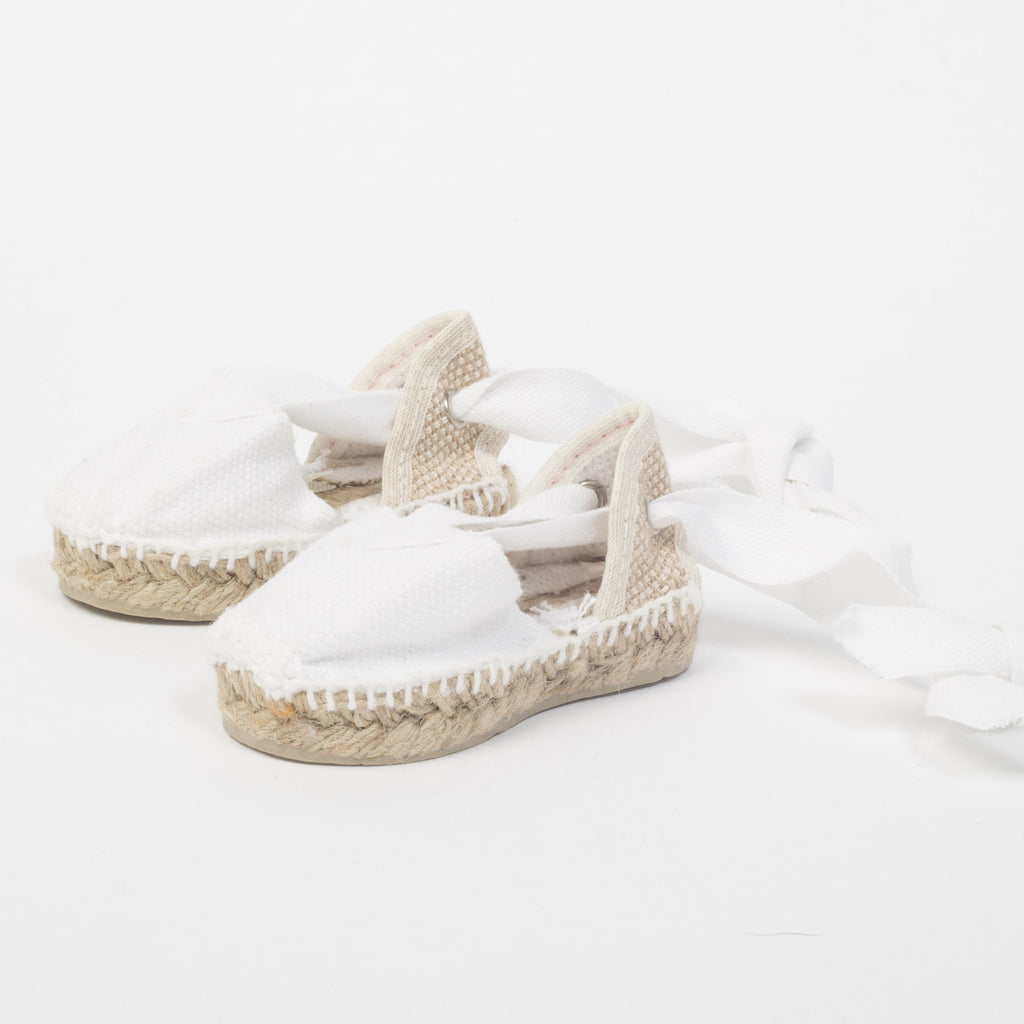 Canvas Baby Espadrilles with Ankle Tie - White