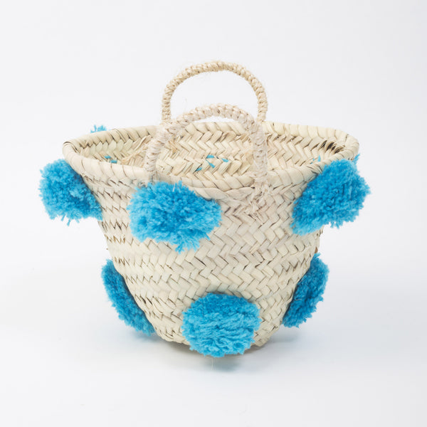 Mini Pom Pom Basket - Blue