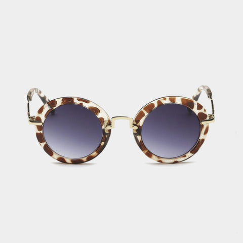 Gold Trim Round Sunglasses - Tortoise Shell
