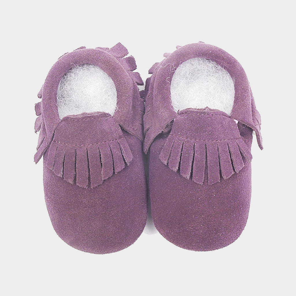 Mini Me Leather Moccasins - Mauve Suede