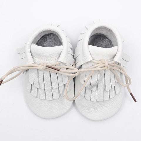 Mini Me Leather Moccasins - White