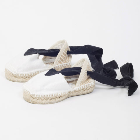 Canvas Baby Espadrilles With Ankle Tie - White & Black