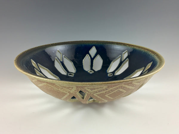 Kate & Jere Huffman stoneware perforated bowl