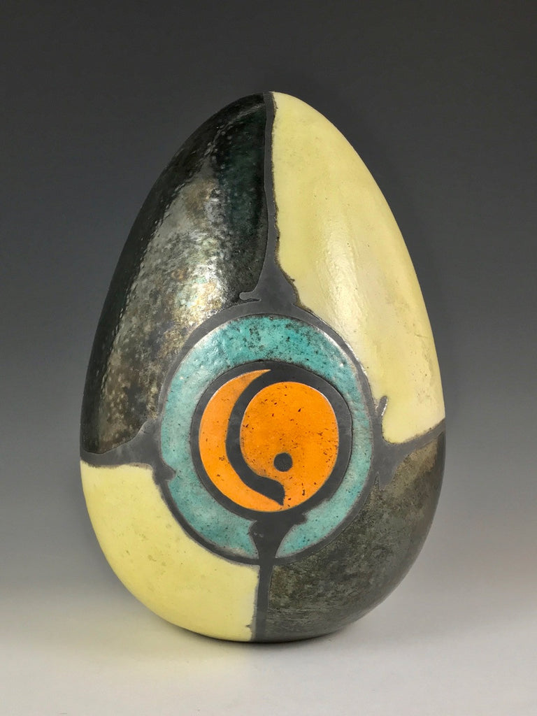 Steve Hemingway tabletop egg sculpture with yolk pattern