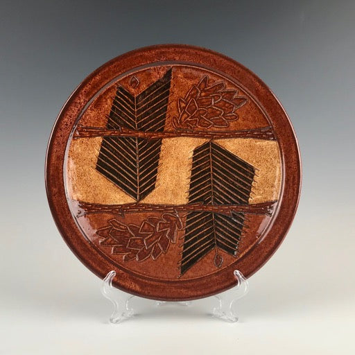 Peder Hegland plate with pine branches and cones