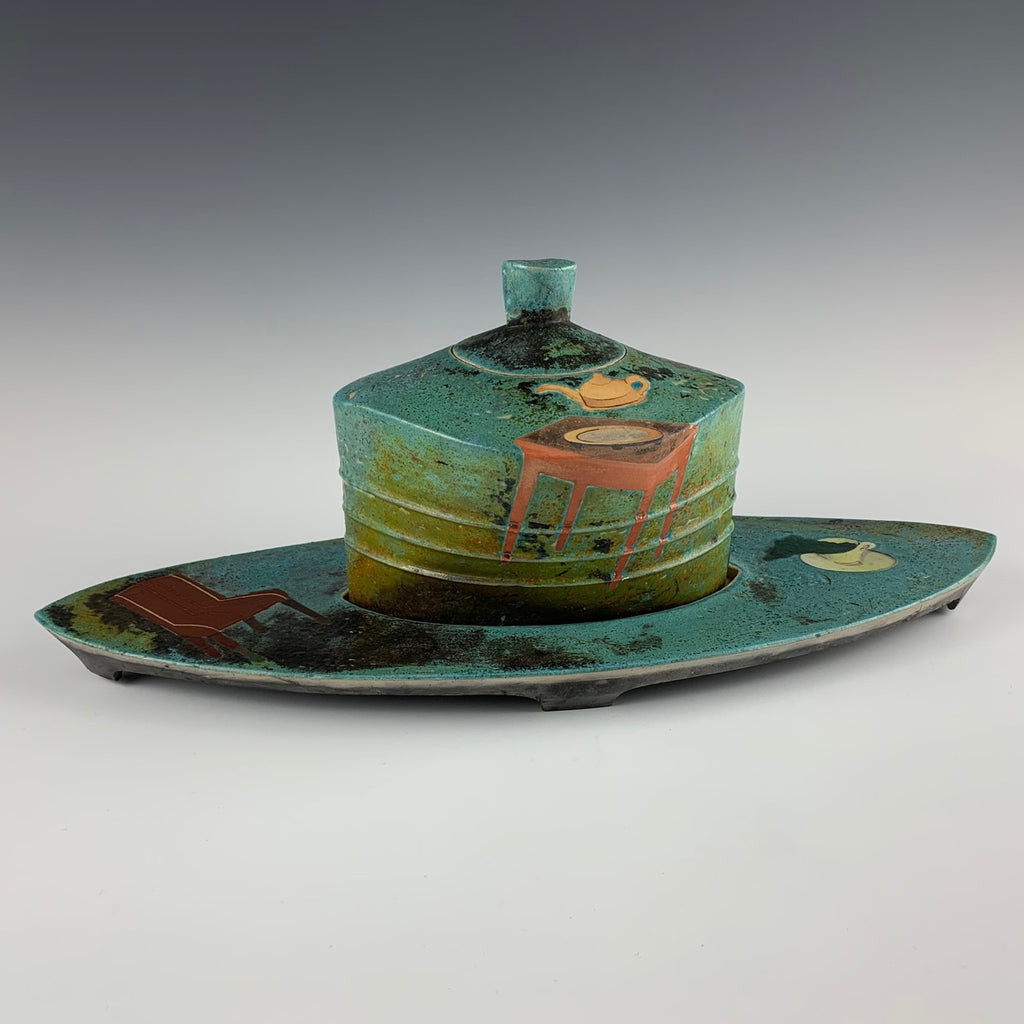 James Lawton, Jar and Trivet with Floating Vessels