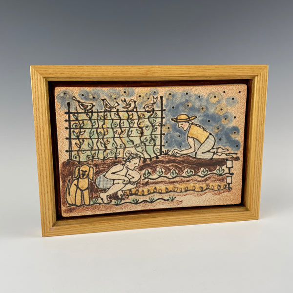Pepin Farm Pottery framed tile, gardening