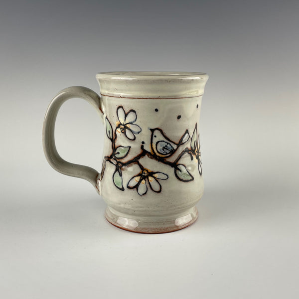 Pepin Farm Pottery mug, birds and branches