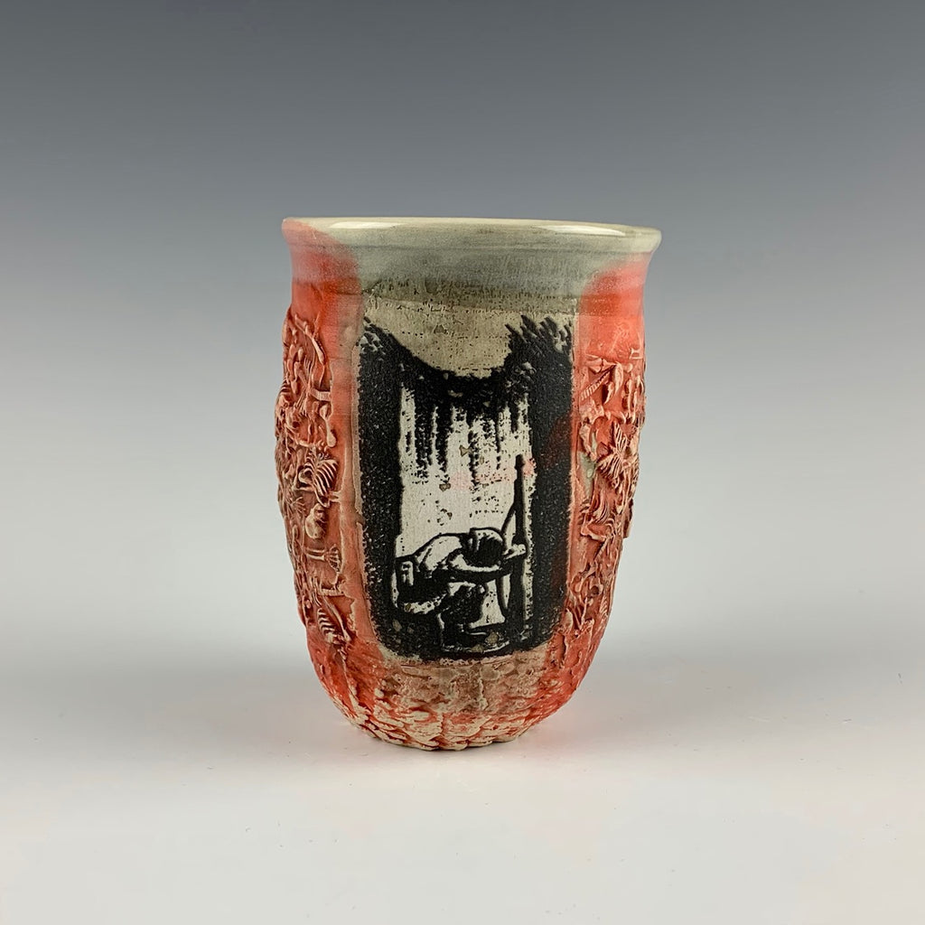 Ehren Tool cup, kneeling soldier with skeletons