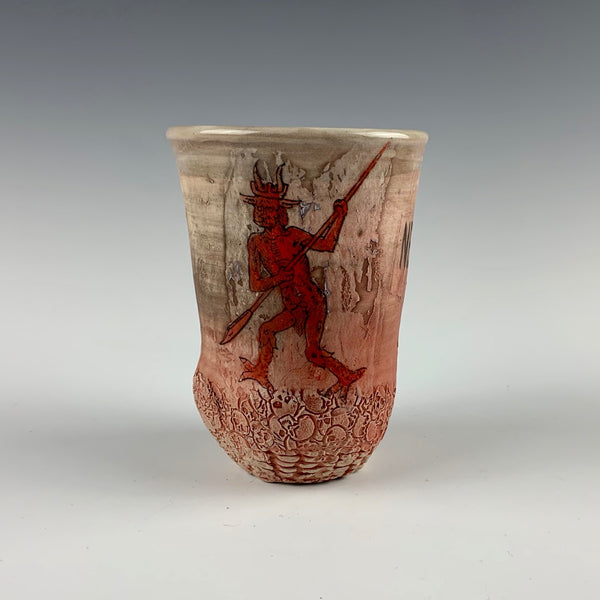 Ehren Tool cup, red demon figures and necrocapitalism