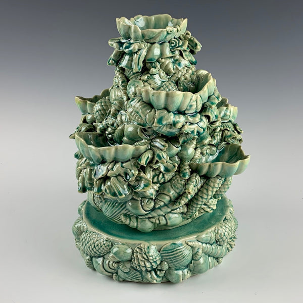 Kate Maury oyster server sculpture with plinth