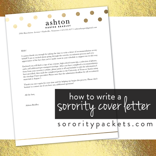 How to Write a Cover Letter for Sorority Recruitment ...